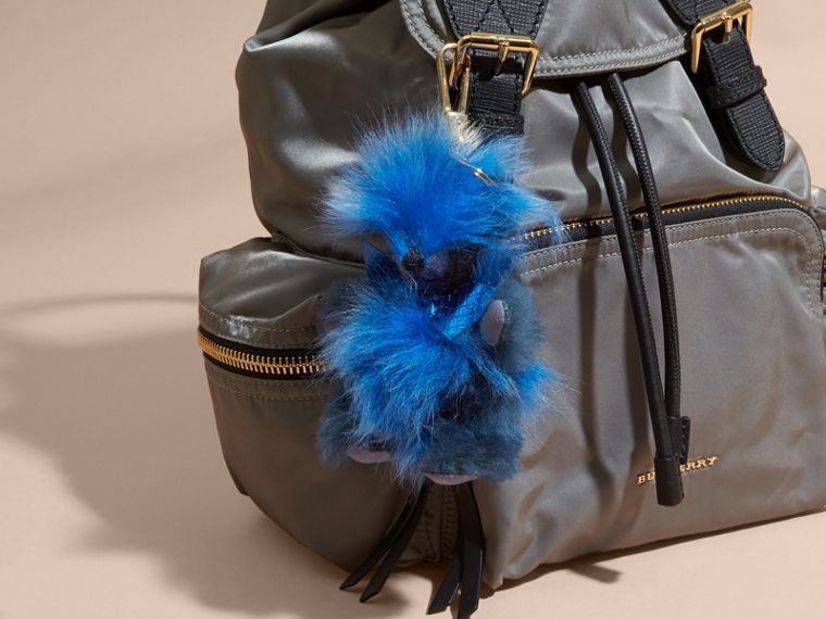 Thomas Bear Pom-Pom Charm in Check Cashmere in Bright Cornflower Blue - Women | Burberry - cell image 1