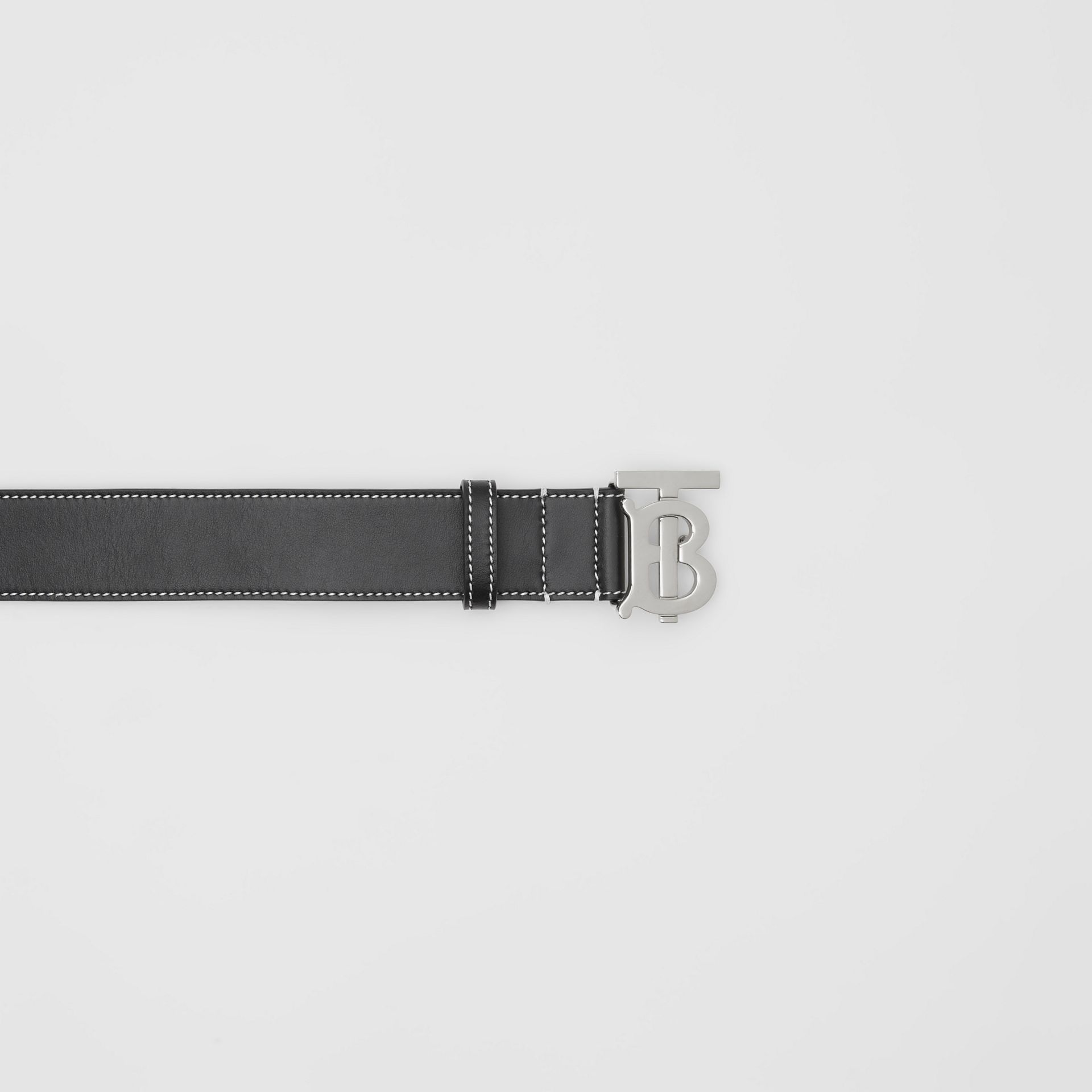 Monogram Motif Topstitched Leather Belt in Black - Men | Burberry - gallery image 1