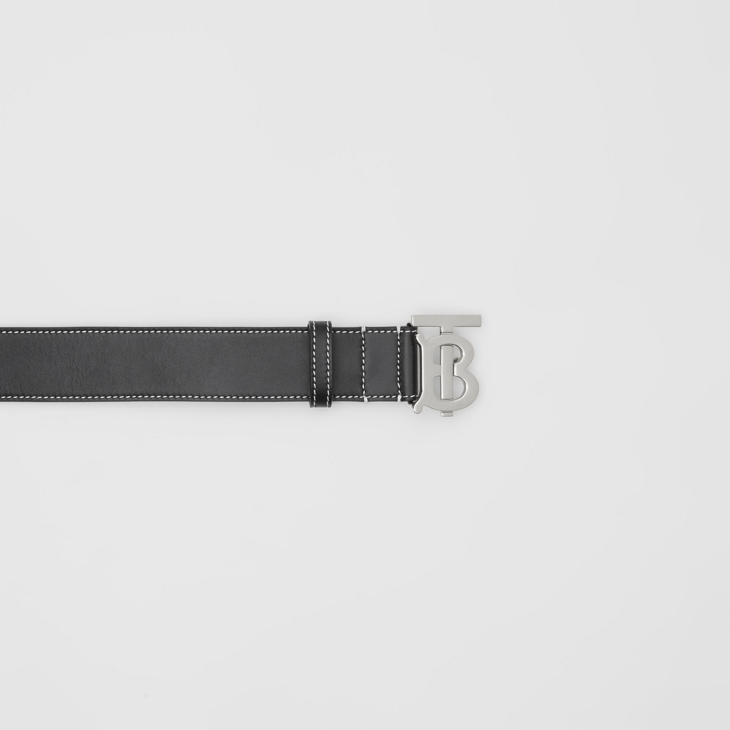 Monogram Motif Topstitched Leather Belt in Black - Men | Burberry Hong Kong S.A.R. - 2