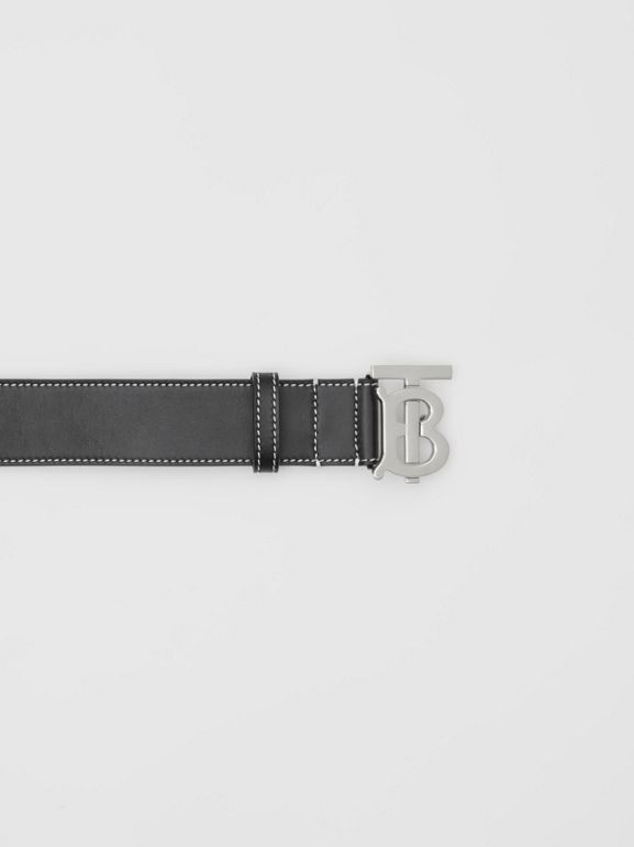 Monogram Motif Topstitched Leather Belt in Black - Men | Burberry - cell image 1