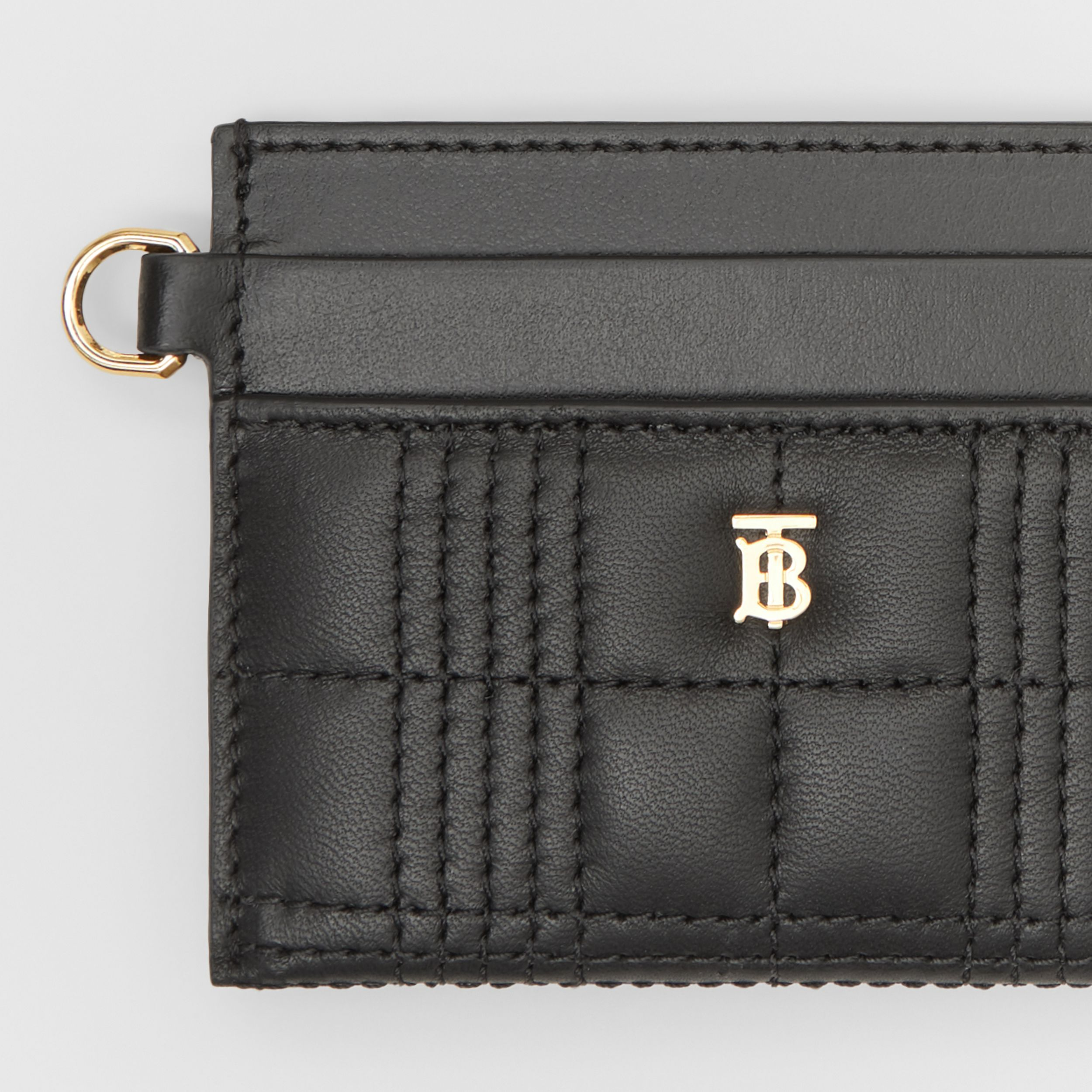 Monogram Motif Quilted Lambskin Card Case in Black - Women | Burberry Australia - 2