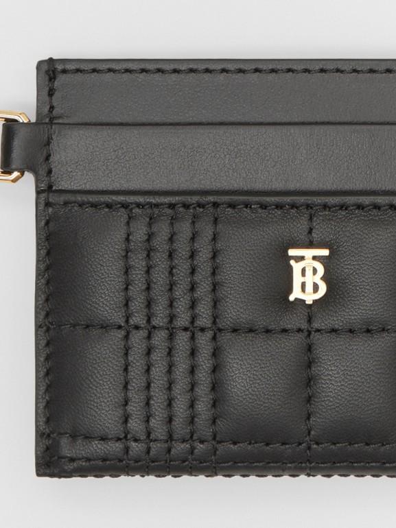 Porte-cartes en cuir d'agneau matelassé Monogram (Noir) - Femme | Burberry - cell image 1