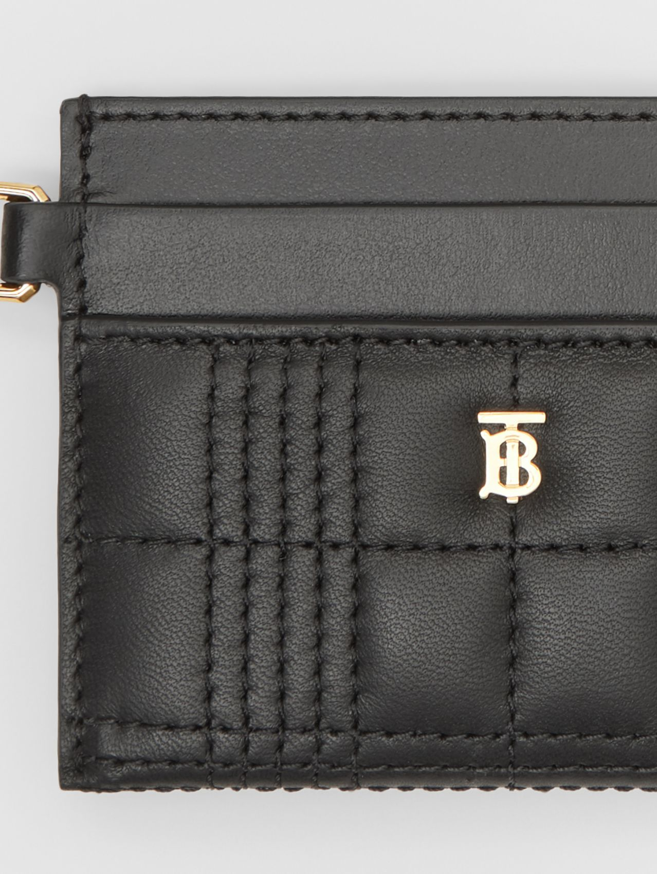 Monogram Motif Quilted Lambskin Card Case in Black