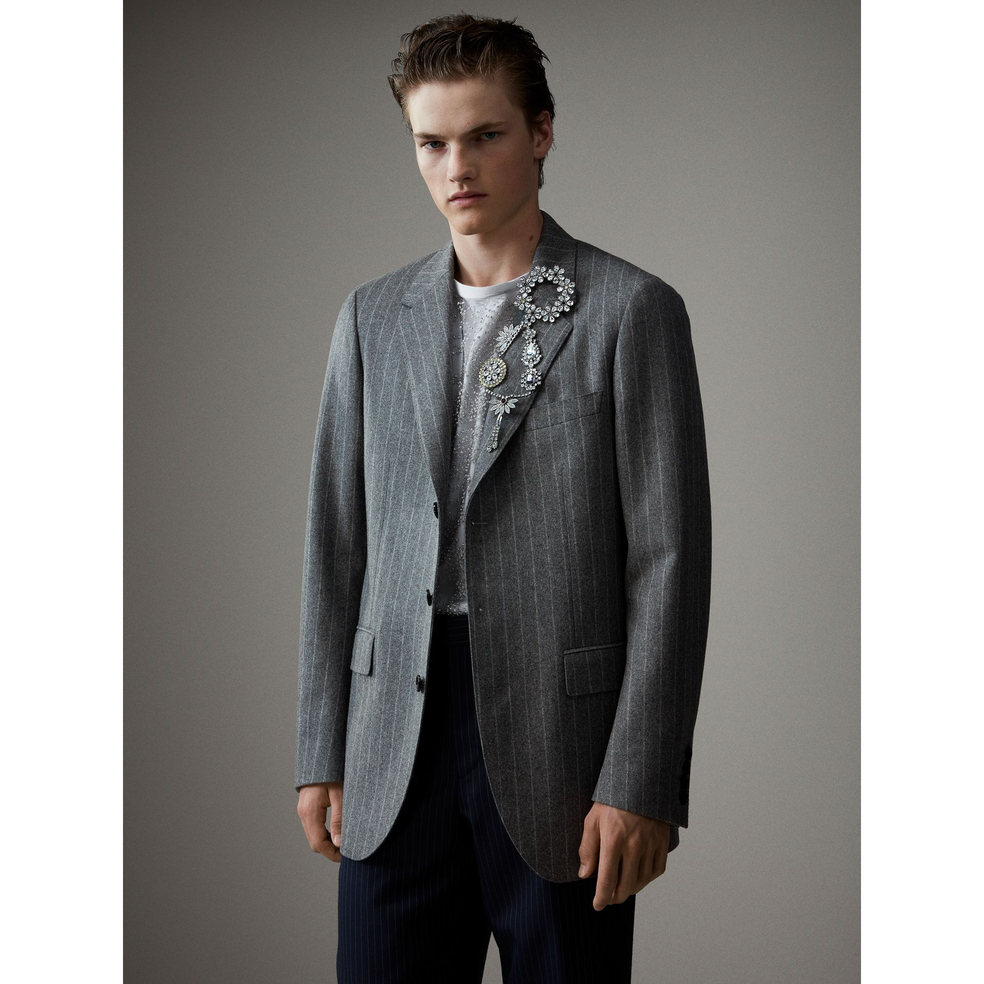 English Pinstripe Wool Flannel Tailored Jacket in Mid Grey - Men | Burberry United Kingdom - gallery image 4