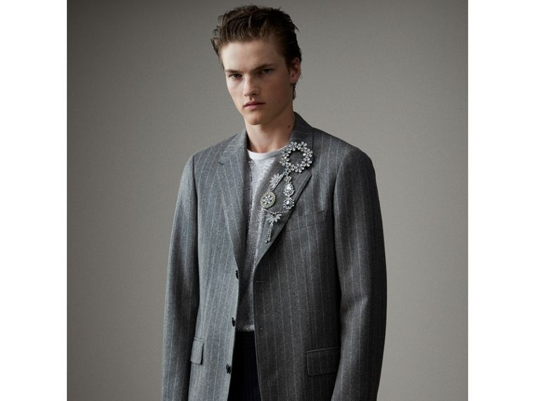 English Pinstripe Wool Flannel Tailored Jacket in Mid Grey - Men | Burberry Australia - cell image 4