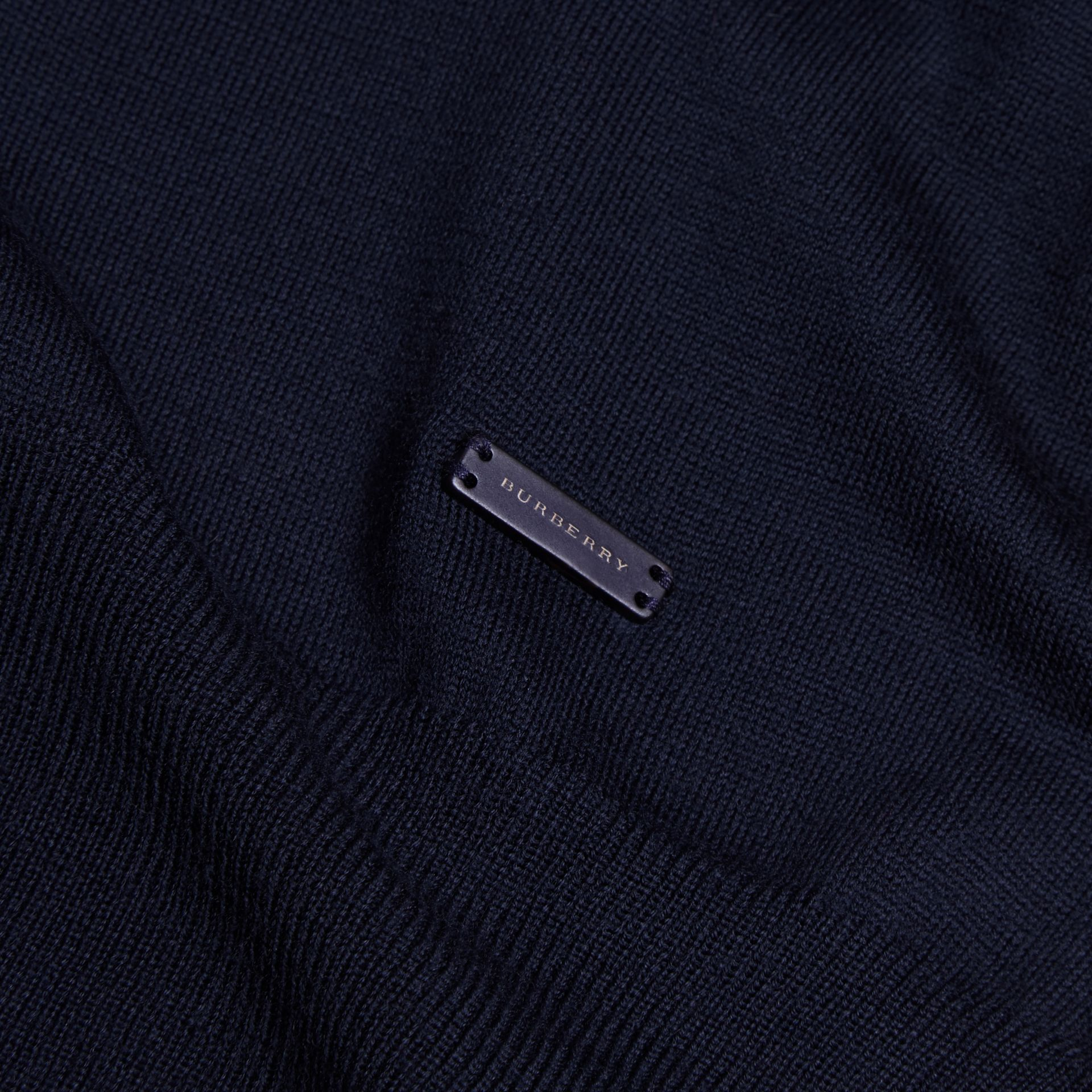Navy Merino Wool Roll-neck Sweater Navy - gallery image 2