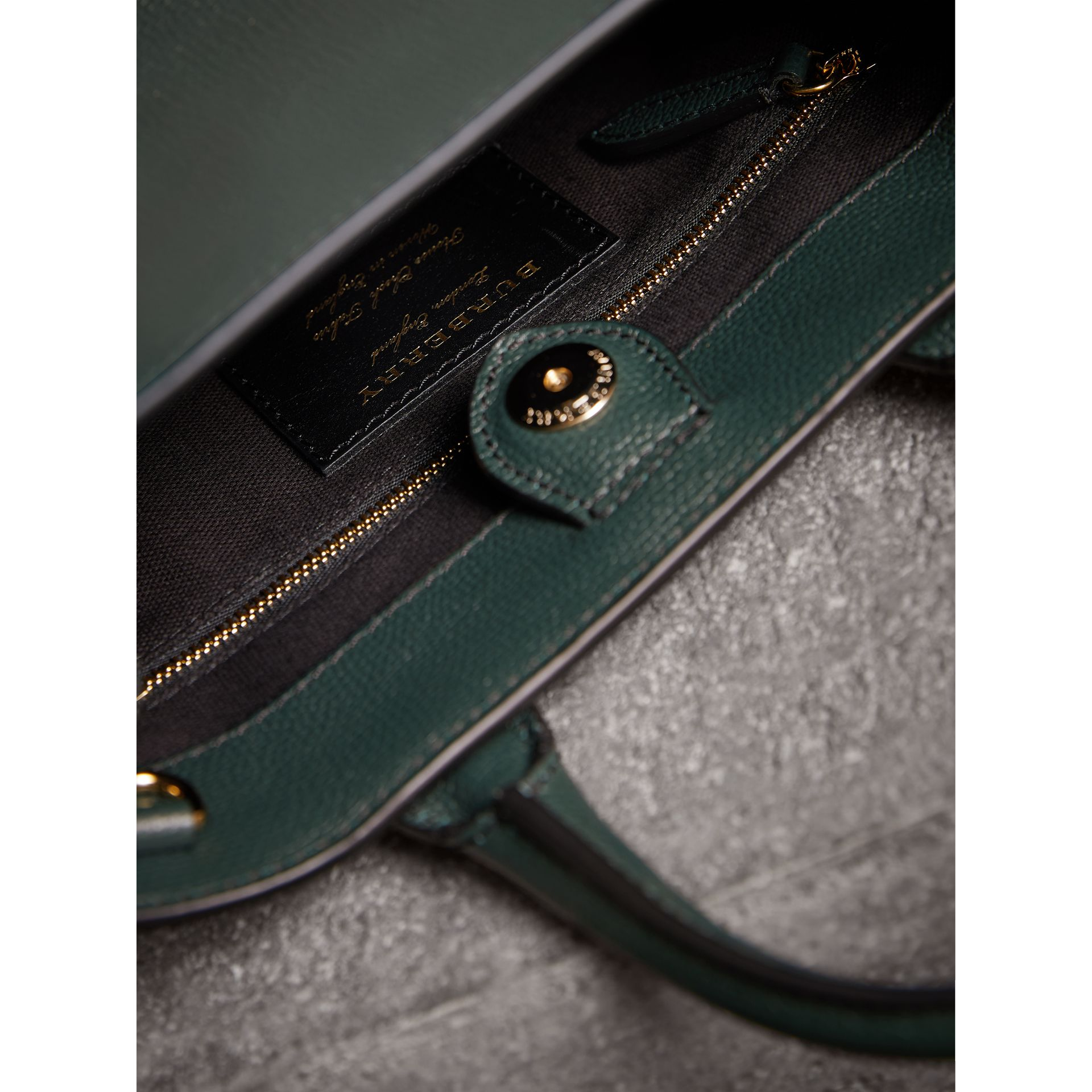 The Small Banner in Leather and House Check in Dark Bottle Green - Women | Burberry Singapore - gallery image 5