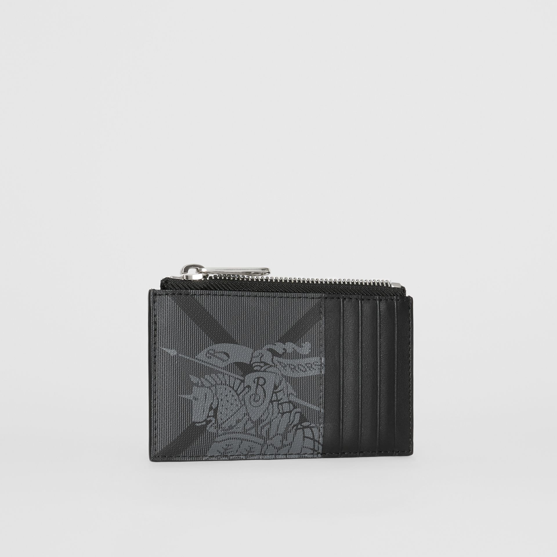 Equestrian Knight Print and Leather Zip Card Case in Charcoal/black - Men | Burberry Australia - gallery image 3