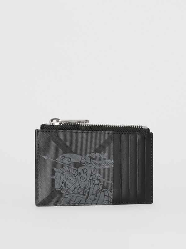 Equestrian Knight Print and Leather Zip Card Case in Charcoal/black - Men | Burberry - cell image 3