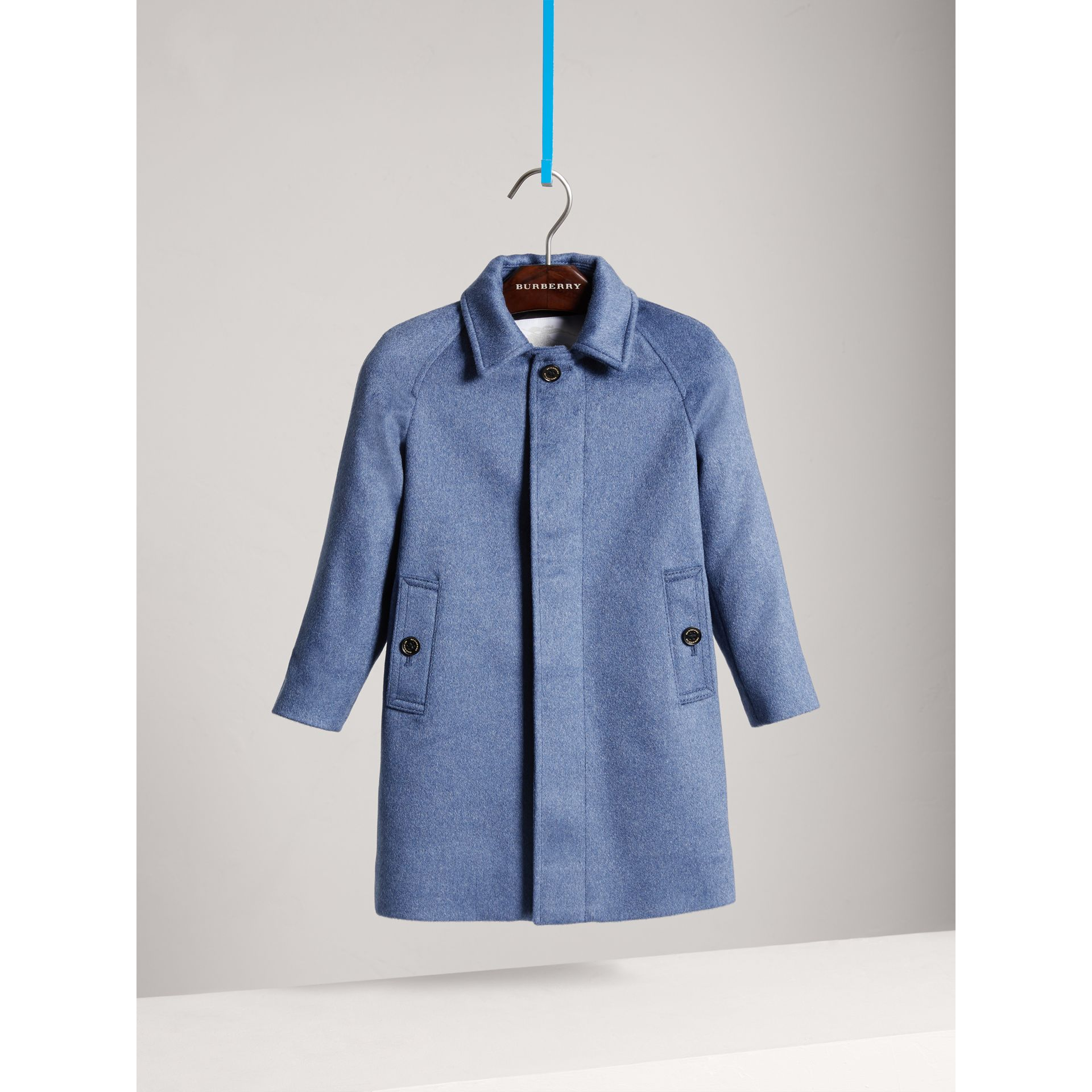 Cashmere Car Coat in Steel Blue Melange | Burberry - gallery image 0