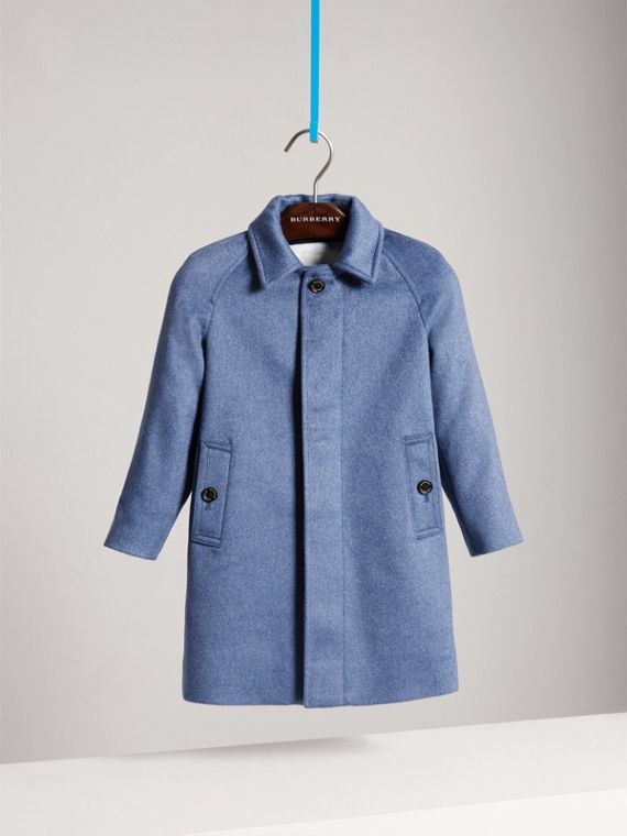 Cashmere Car Coat in Steel Blue Melange
