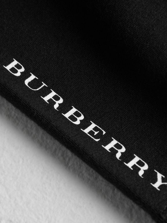 Logo Detail Stretch Cotton Leggings in Black - Children | Burberry - cell image 1