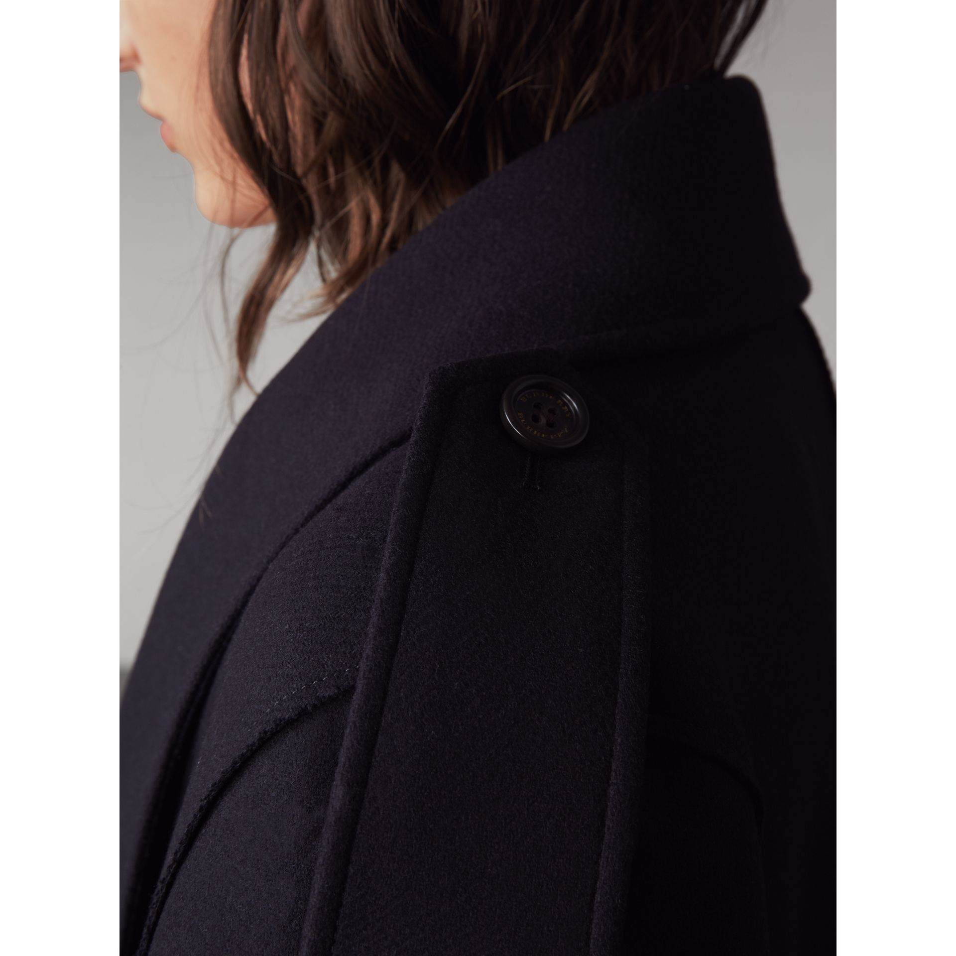 Wool Cashmere Blend Military Cape in True Navy - Women | Burberry - gallery image 2