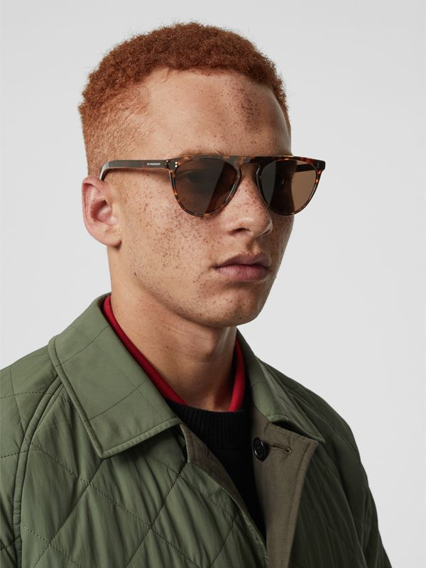 Keyhole D-shaped Sunglasses in Tortoise Shell - Men | Burberry - cell image 2