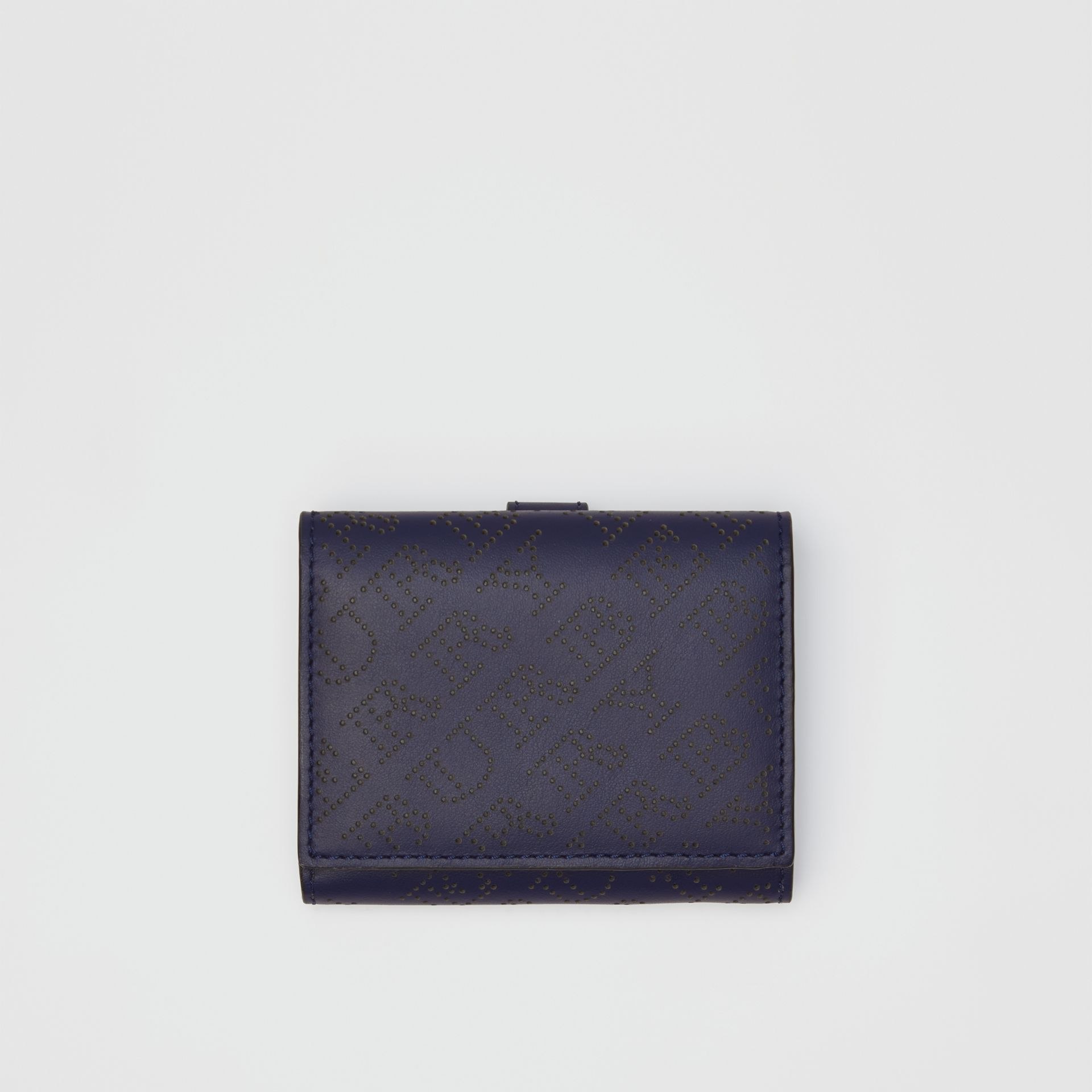 Small Perforated Logo Leather Wallet in Navy - Women | Burberry Canada - gallery image 0