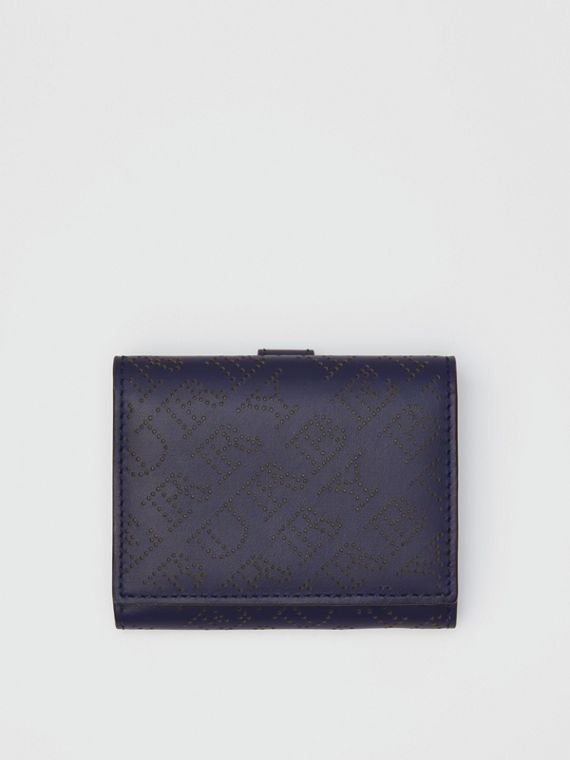 Small Perforated Logo Leather Wallet in Navy