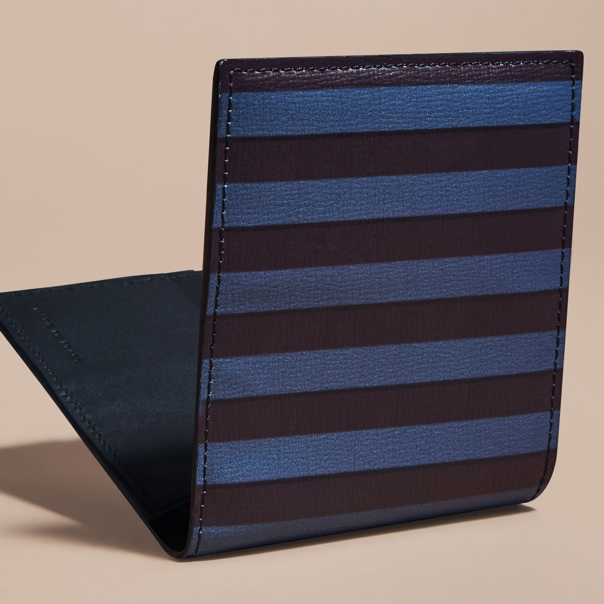 Navy Pyjama Stripe London Leather Folding Wallet - gallery image 4