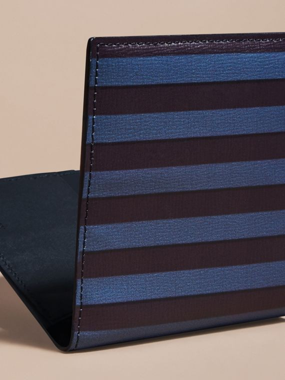 Navy Pyjama Stripe London Leather Folding Wallet - cell image 3