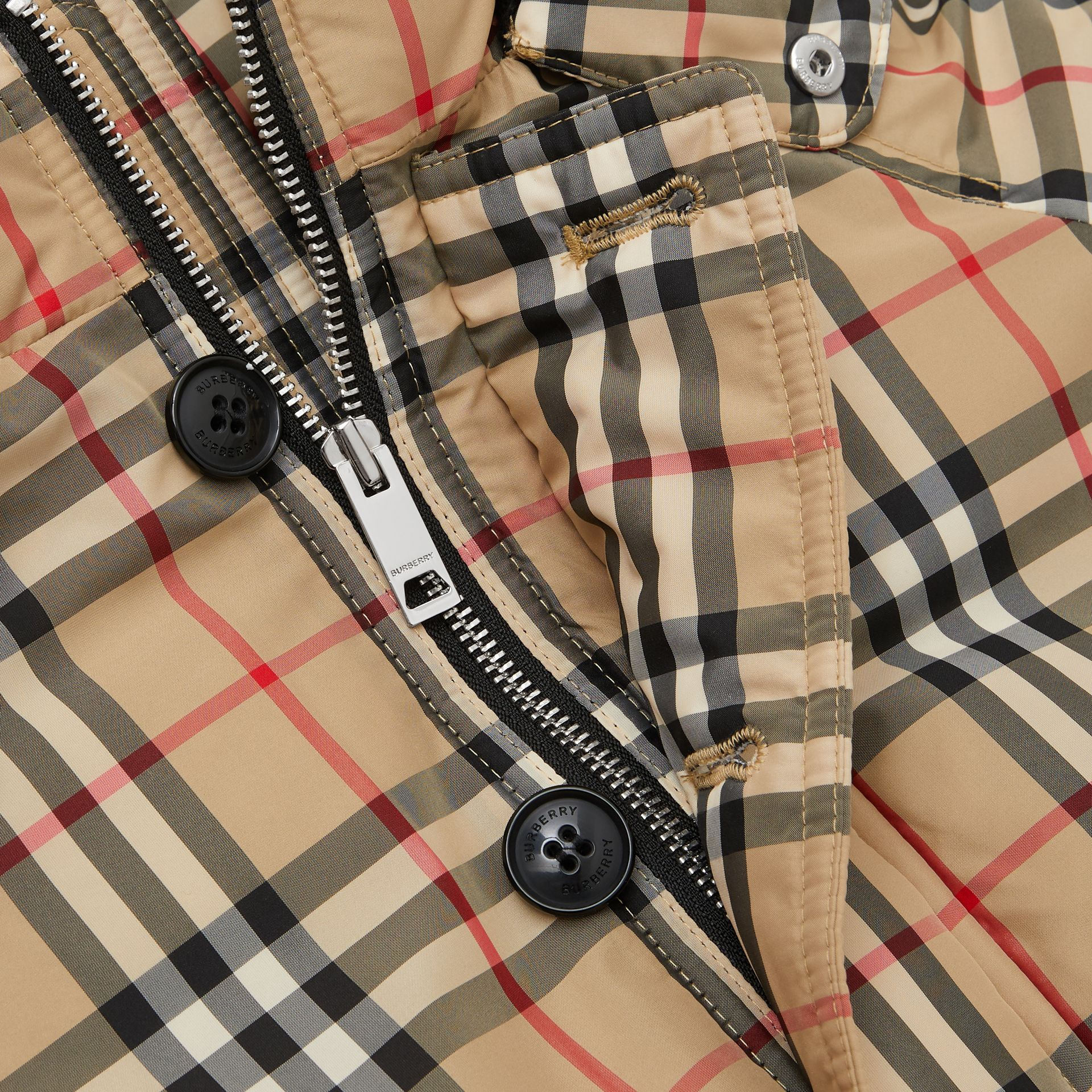 Vintage Check Down-filled Hooded Puffer Jacket in Archive Beige | Burberry Singapore - gallery image 1