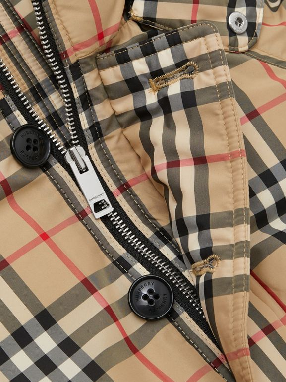 Vintage Check Down-filled Hooded Puffer Jacket in Archive Beige | Burberry Australia - cell image 1
