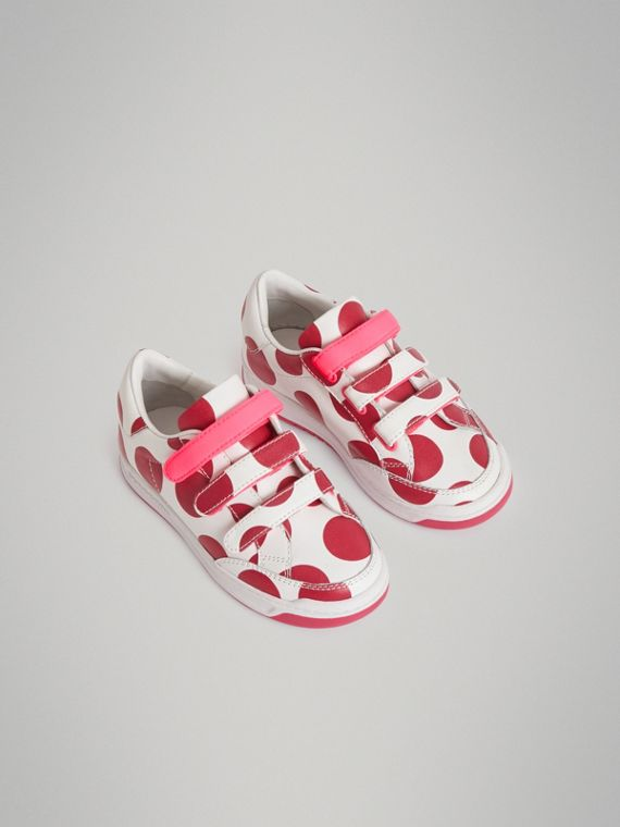 Spot Print Leather Sneakers in Windsor Red