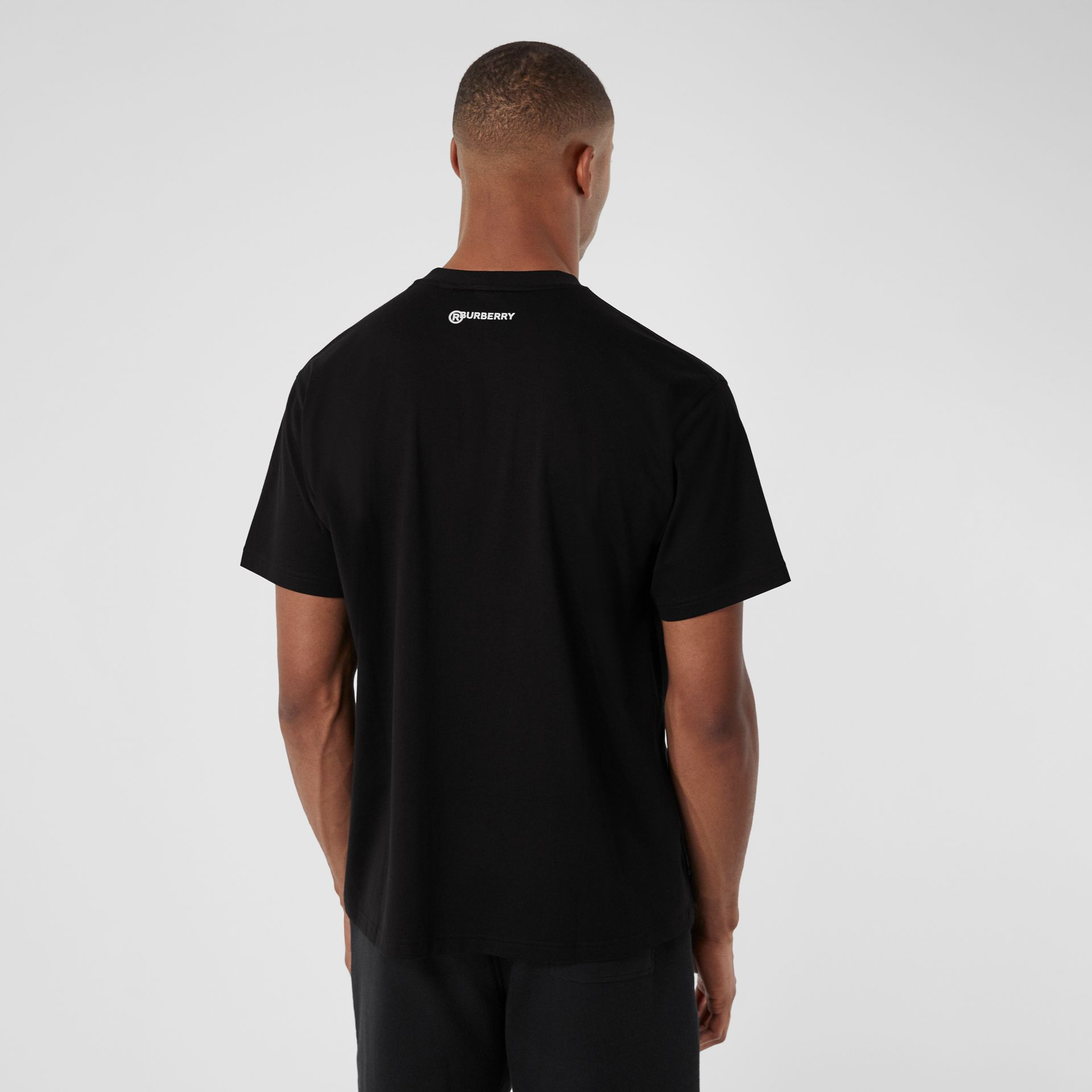 Love Slogan Cotton Oversized T-shirt in Black - Men | Burberry United Kingdom - gallery image 2