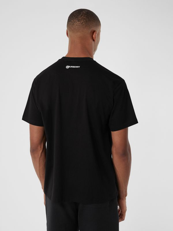 Love Slogan Cotton Oversized T-shirt in Black - Men | Burberry - cell image 2