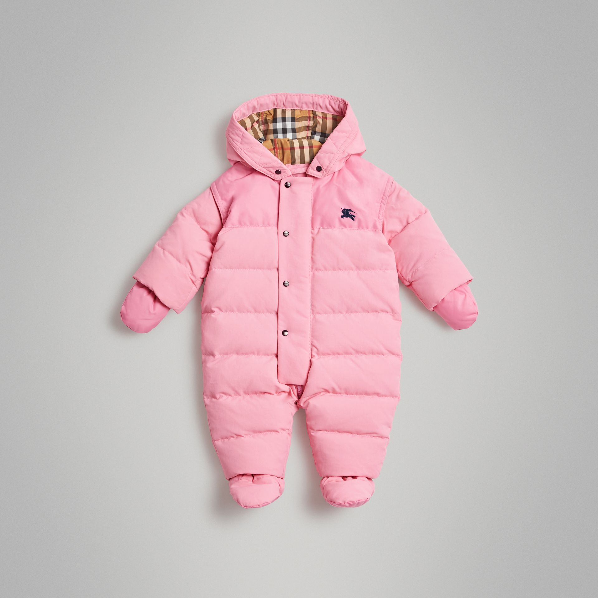 Down-filled Puffer Suit in Ice Pink - Children | Burberry Australia - gallery image 0