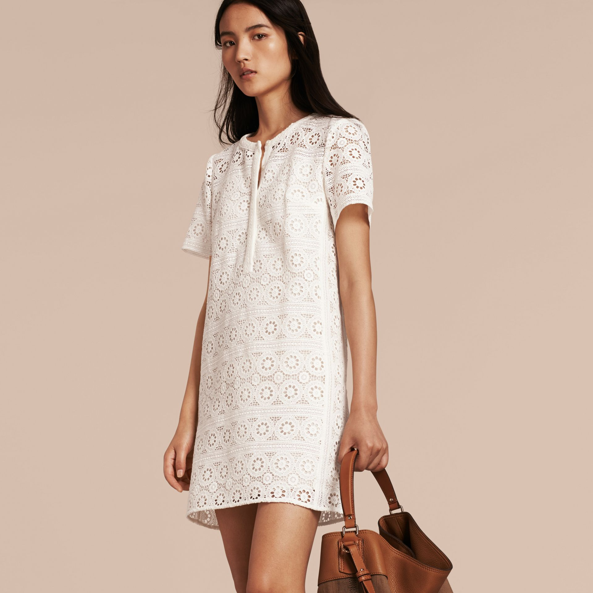 Natural white Cotton Lace Shirt Dress - gallery image 6