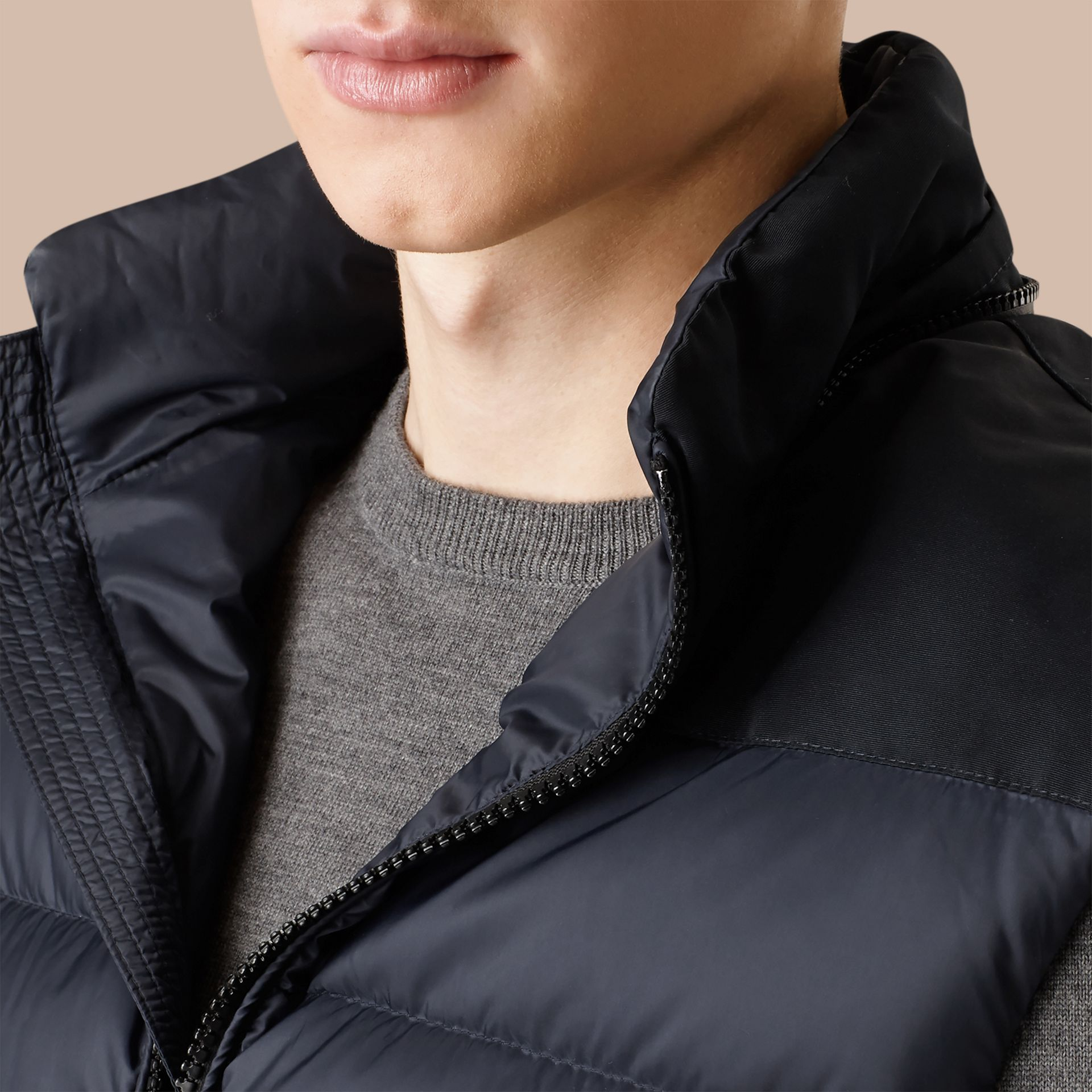 Navy Down-filled Technical Gilet with Detachable Hood Navy - gallery image 2