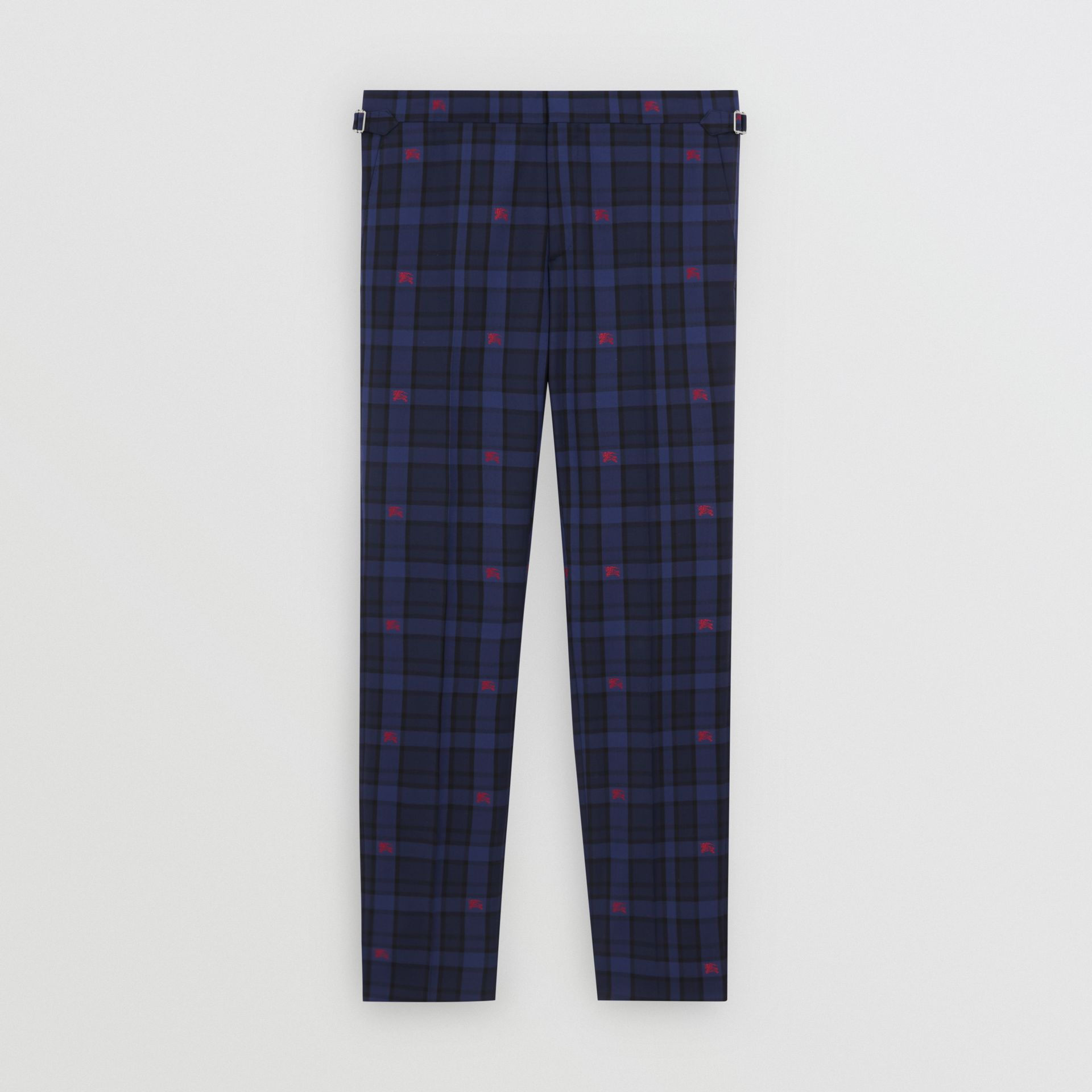 Slim Fit EKD Check Wool Tailored Trousers in Dark Indigo - Men | Burberry Singapore - gallery image 3