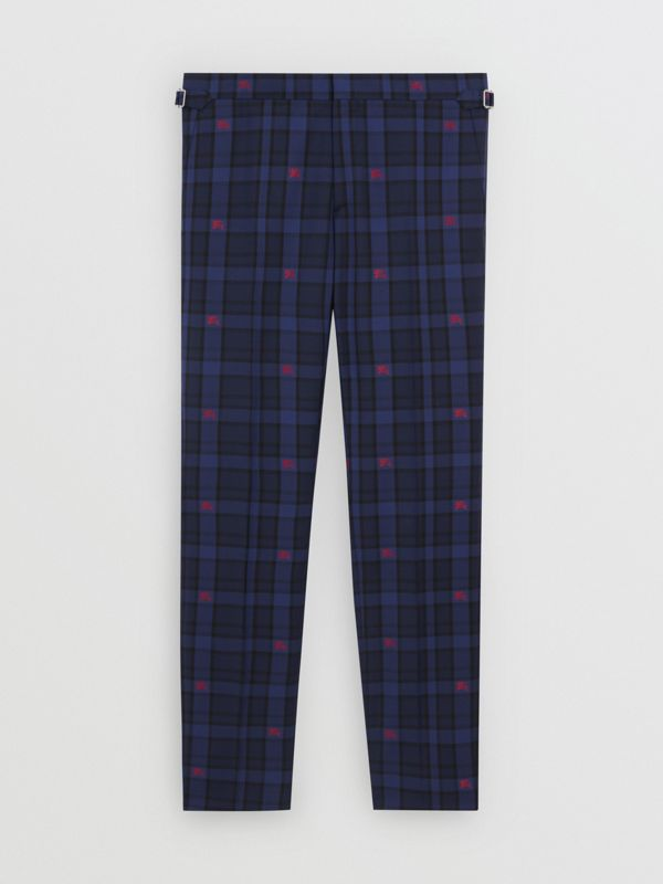 Slim Fit EKD Check Wool Tailored Trousers in Dark Indigo - Men | Burberry - cell image 3