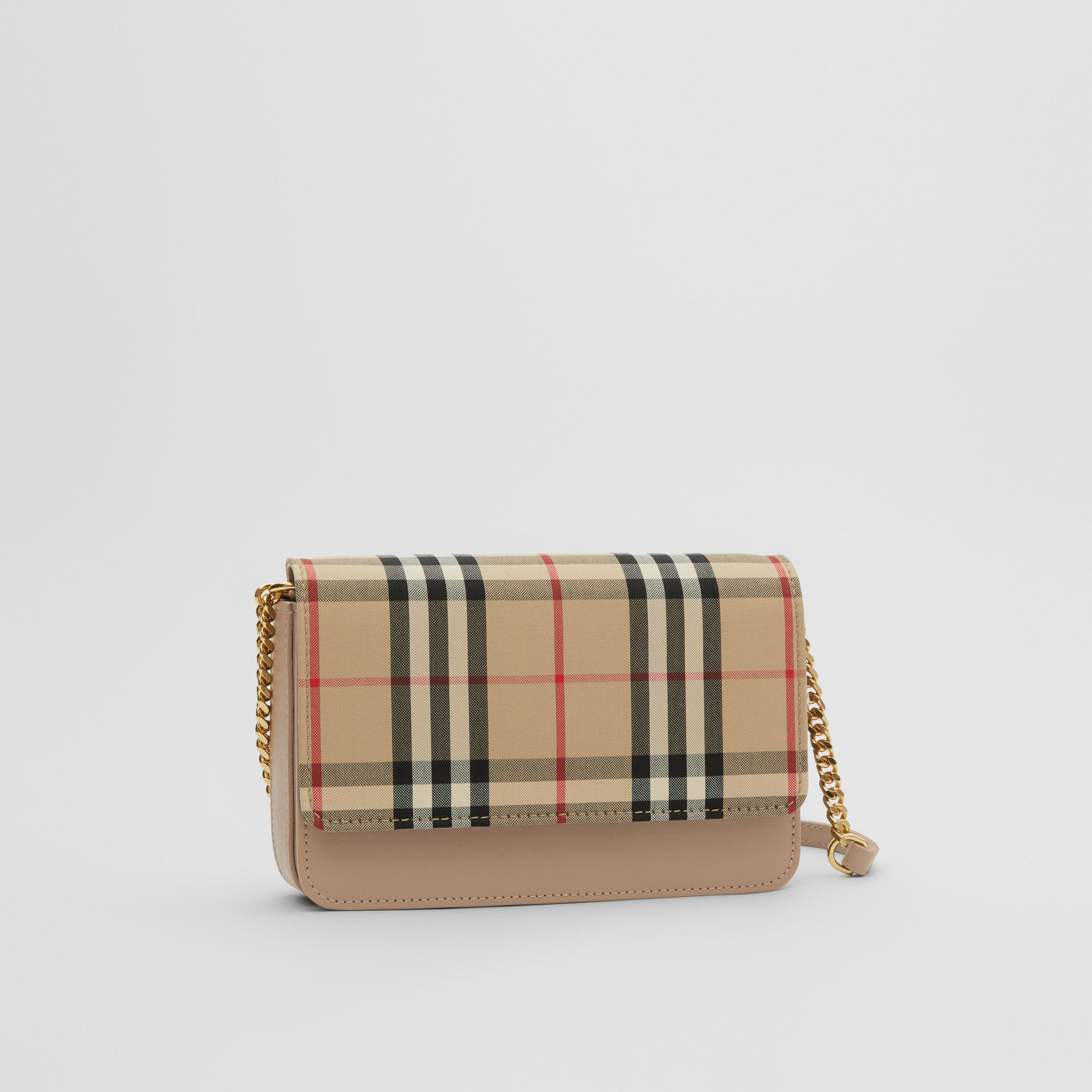Vintage Check Canvas and Leather Bag in Honey - Women | Burberry - gallery image 4
