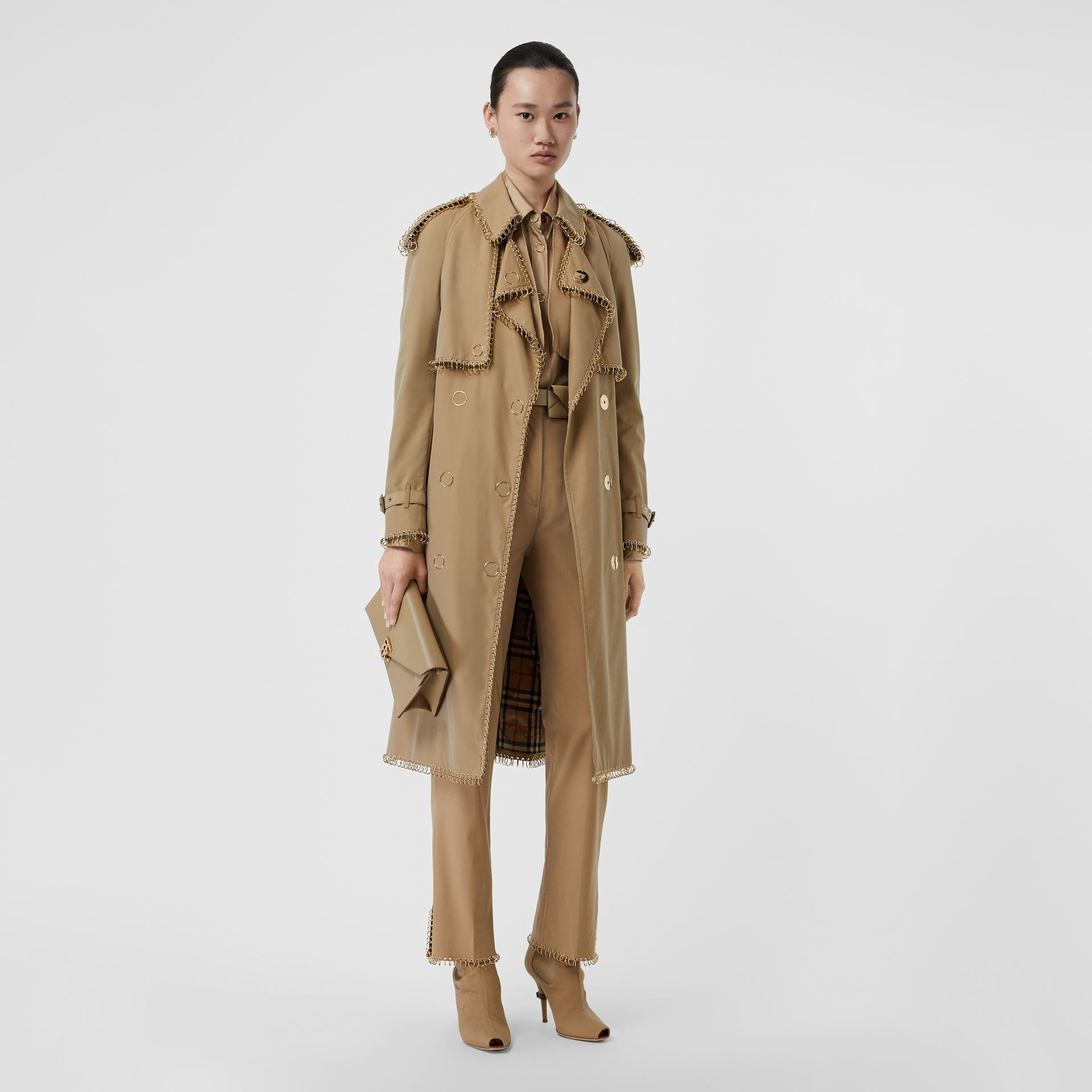 Ring-pierced Cotton Gabardine Trench Coat in Pale Honey - Women | Burberry - gallery image 6