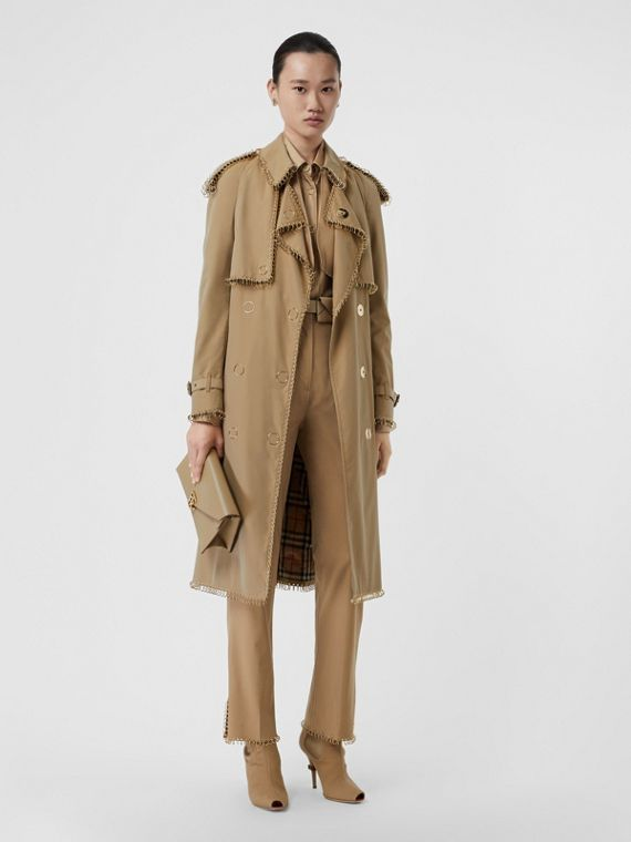 Ring-pierced Cotton Gabardine Trench Coat in Pale Honey