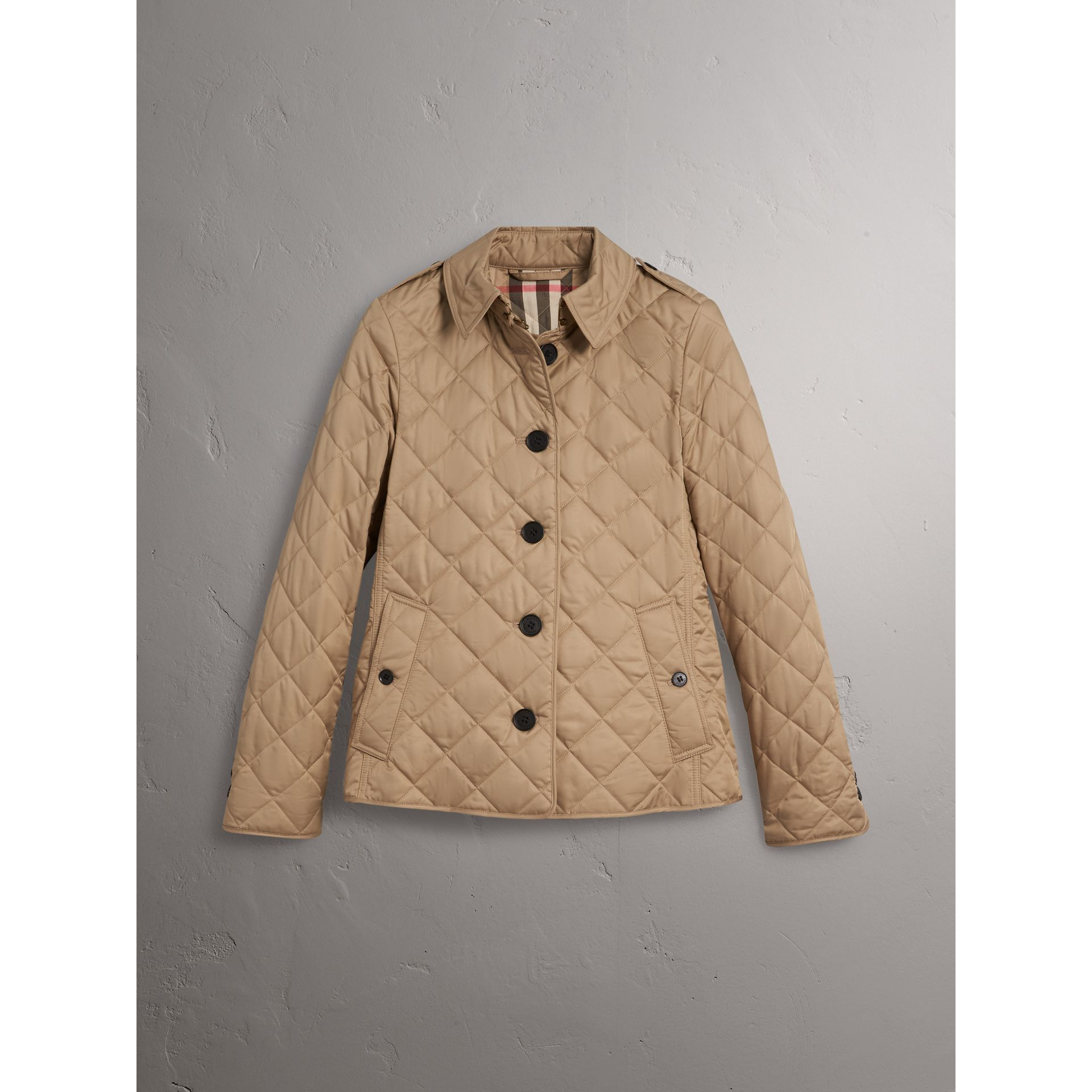 Diamond Quilted Jacket in Canvas - Women | Burberry - gallery image 3