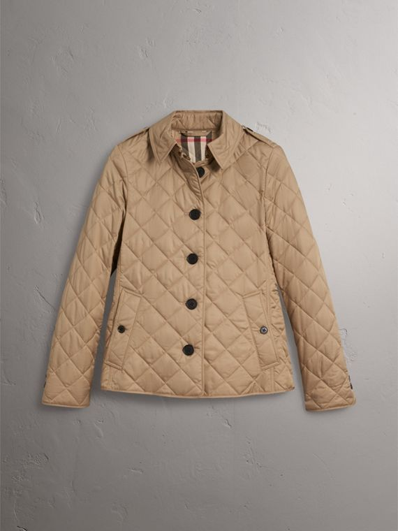 Diamond Quilted Jacket in Canvas - Women | Burberry United States - cell image 3