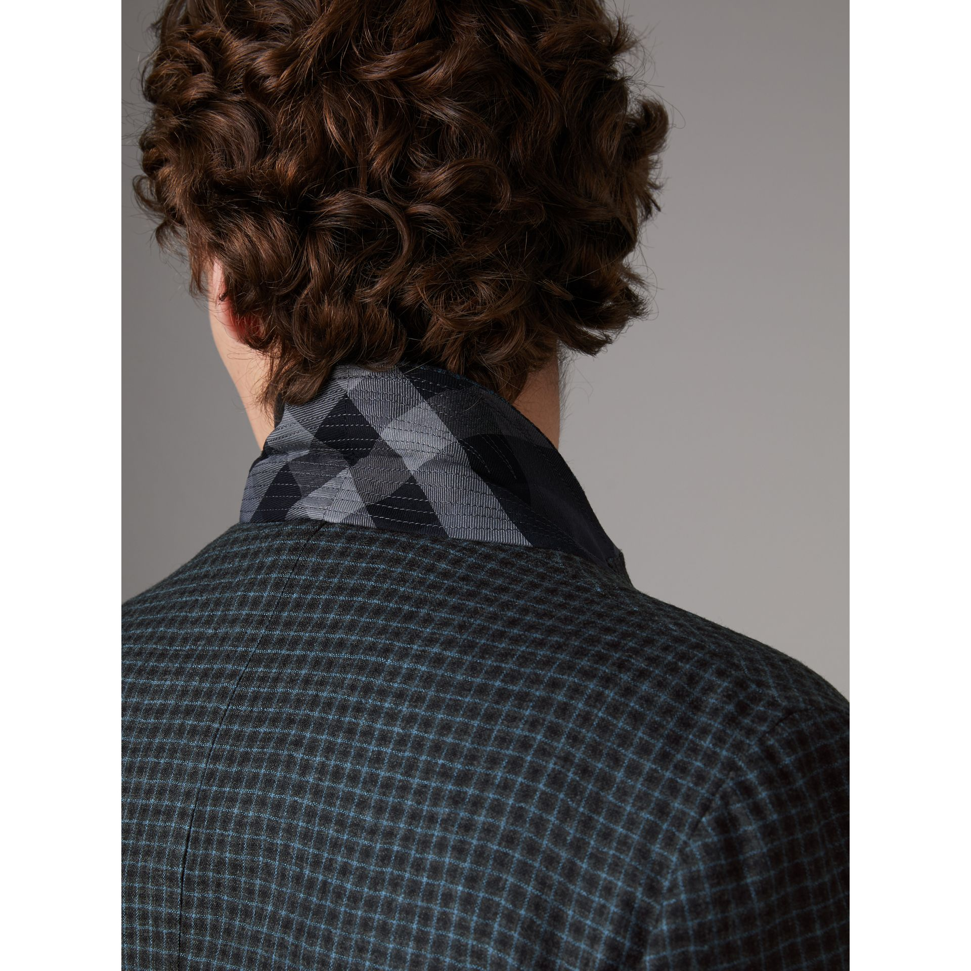 Soho Fit Micro Check Wool Flannel Tailored Jacket in Dark Grey Melange - Men | Burberry Canada - gallery image 5