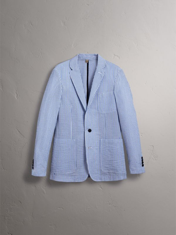 Slim Fit Cotton Blend Seersucker Tailored Jacket in Navy - Men | Burberry - cell image 3