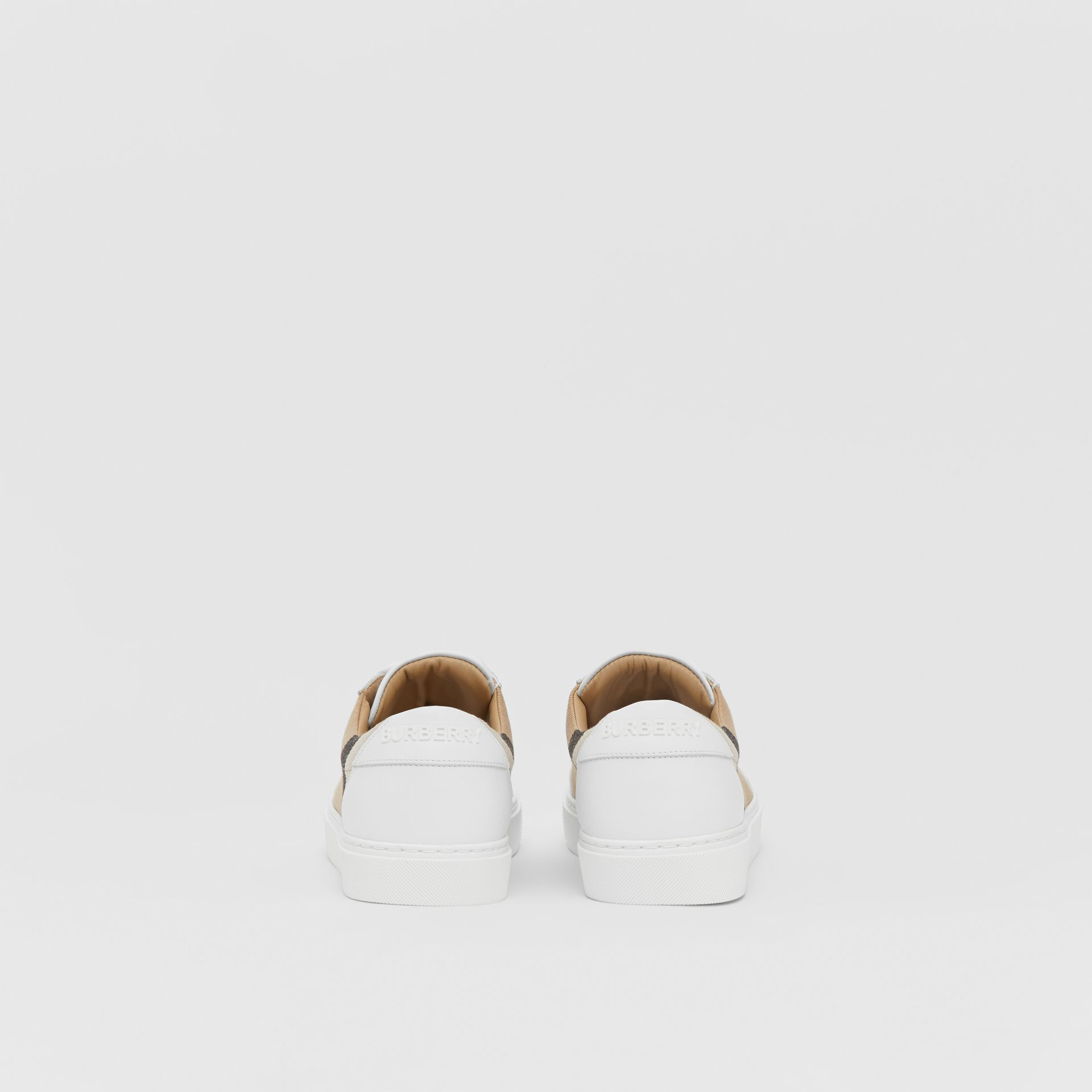 House Check and Leather Sneakers in Optic White - Women | Burberry United Kingdom - gallery image 3
