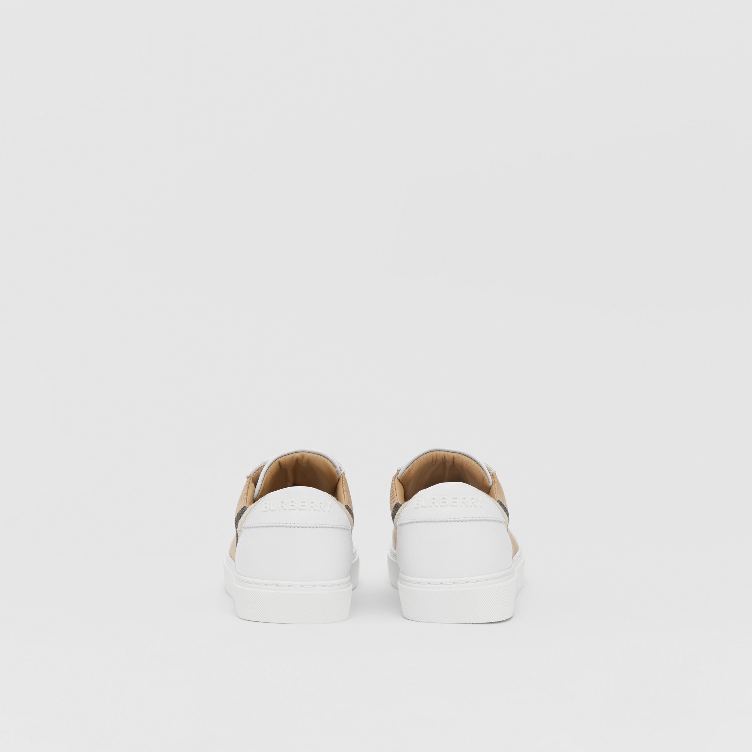 House Check and Leather Sneakers in Optic White - Women | Burberry - 4