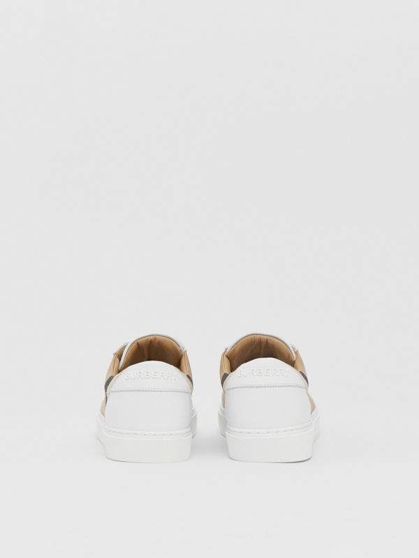 House Check and Leather Sneakers in Optic White - Women | Burberry United Kingdom - cell image 3