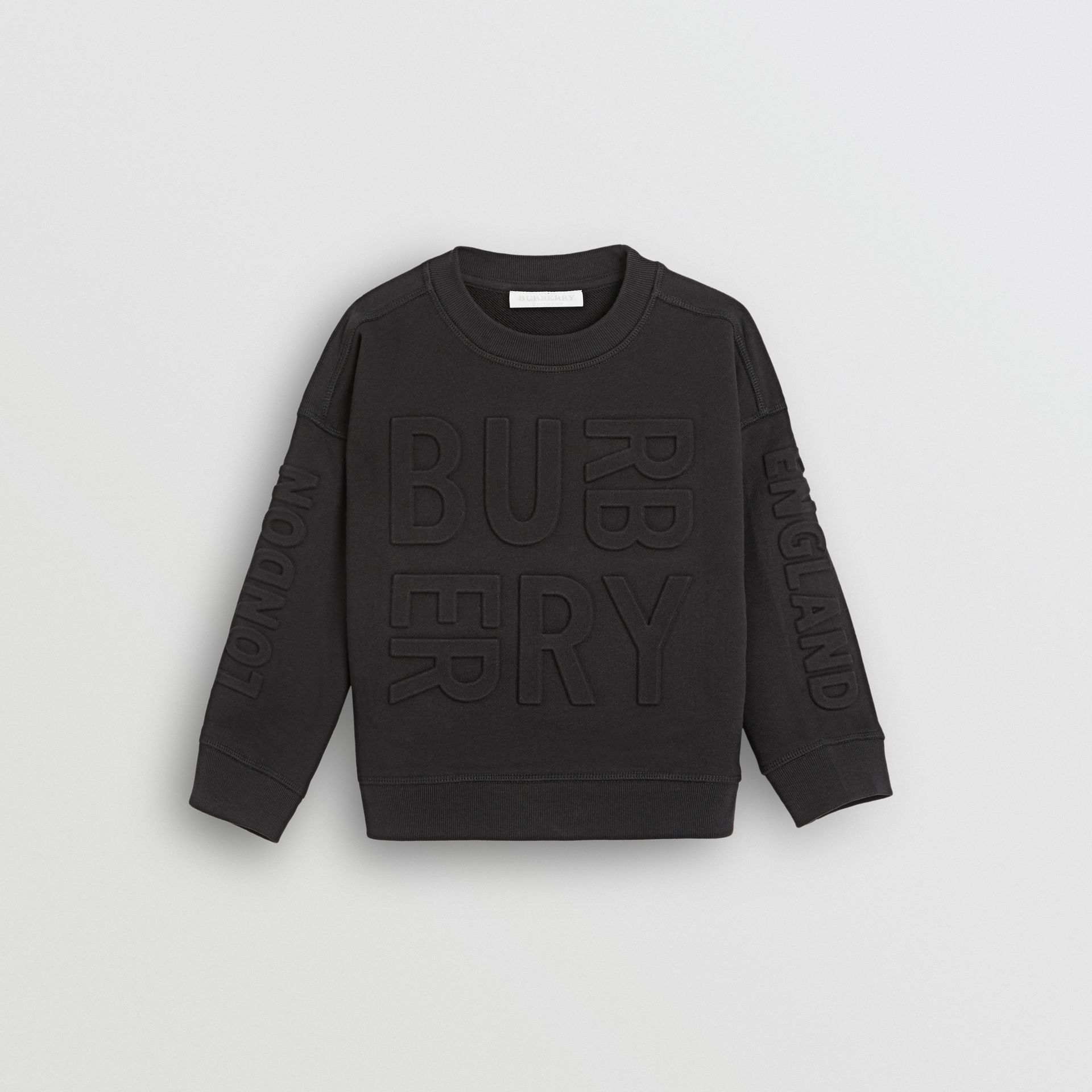 Embossed Logo Cotton Sweatshirt in Black | Burberry United States - gallery image 0