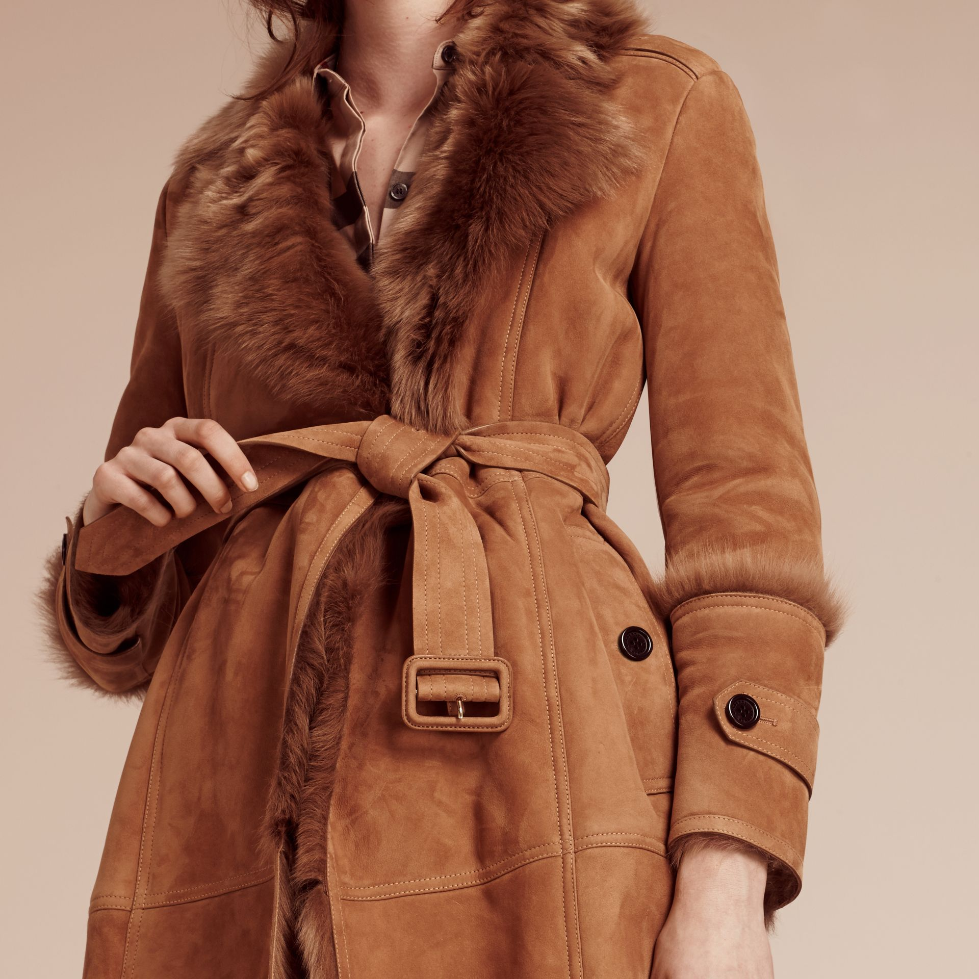 Dark camel Shearling Wrap Coat - gallery image 3