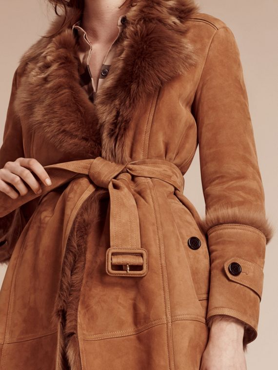 Dark camel Shearling Wrap Coat - cell image 2