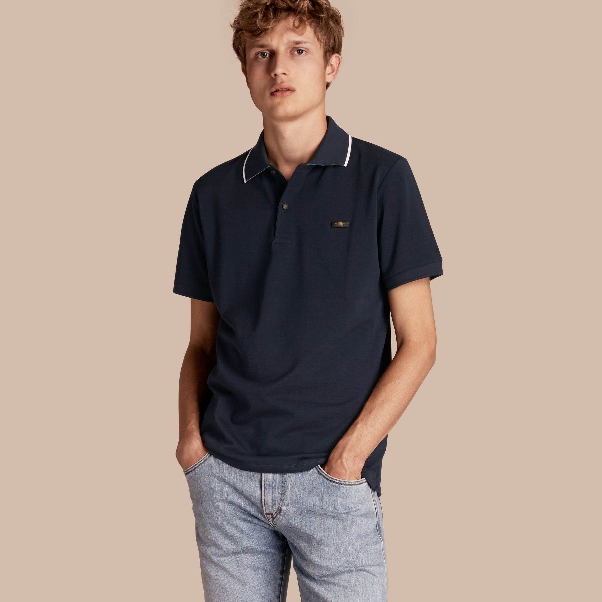 Tipped Collar Cotton Piqué Polo Shirt in Navy - Men | Burberry - gallery image 1