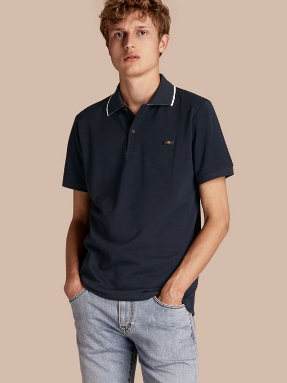 Tipped Collar Cotton Piqué Polo Shirt in Navy