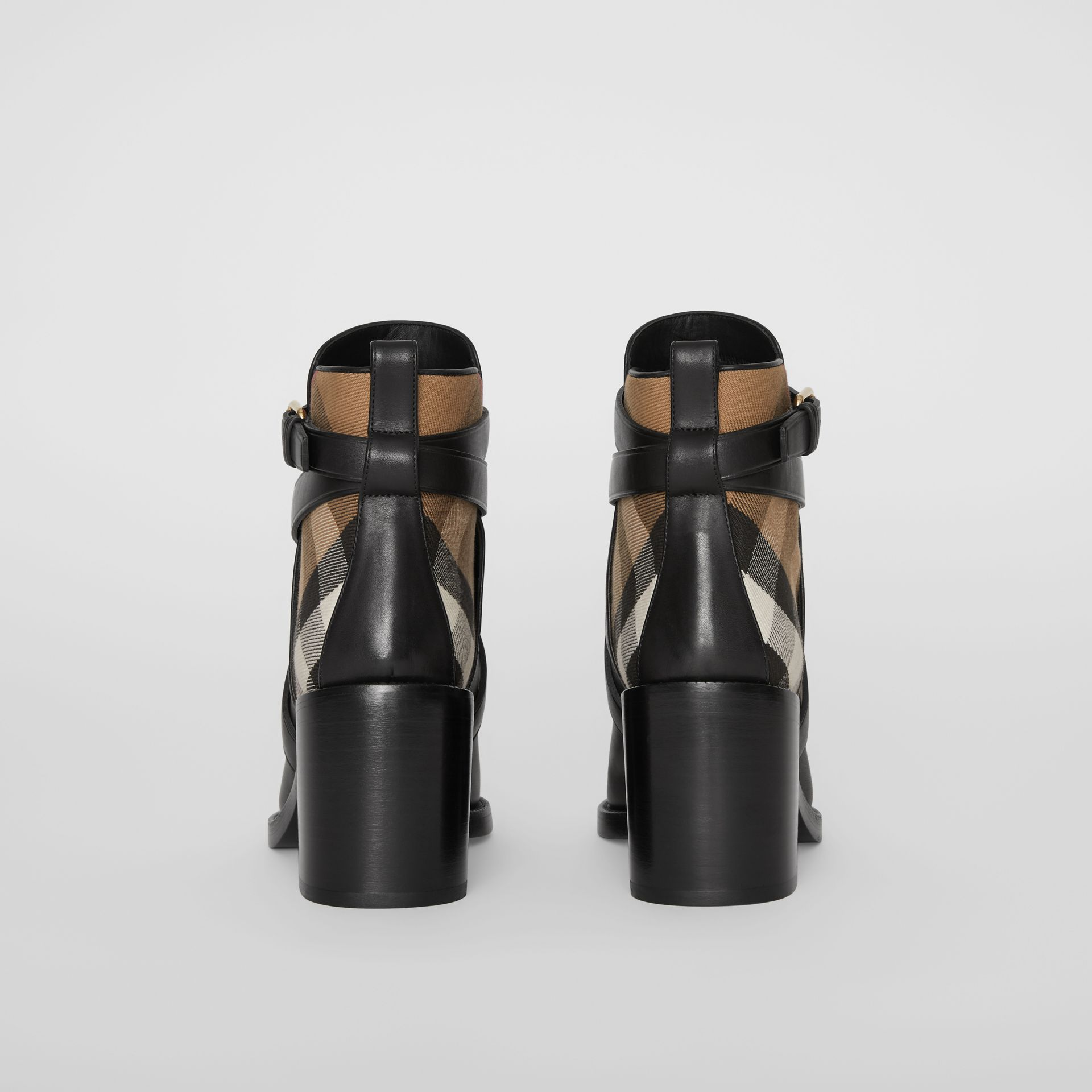 House Check and Leather Ankle Boots in Black - Women | Burberry - gallery image 3
