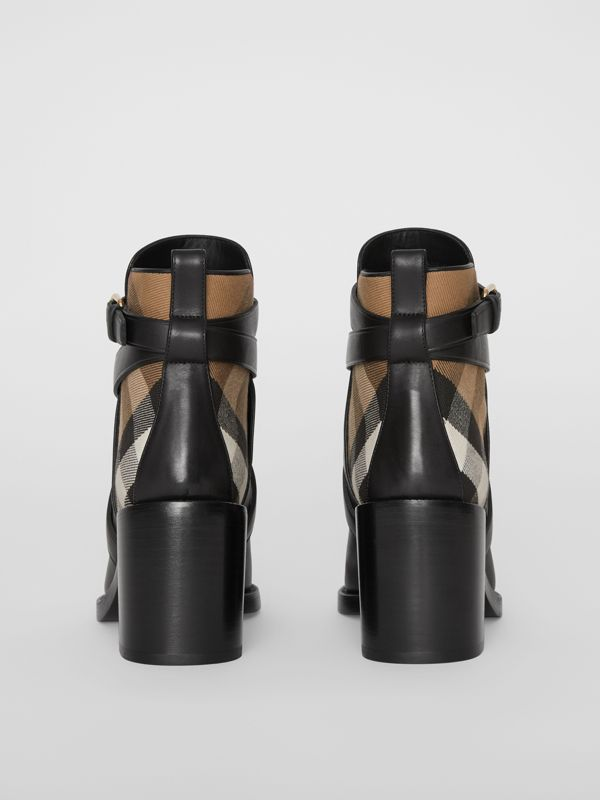 House Check and Leather Ankle Boots in Black - Women | Burberry - cell image 3