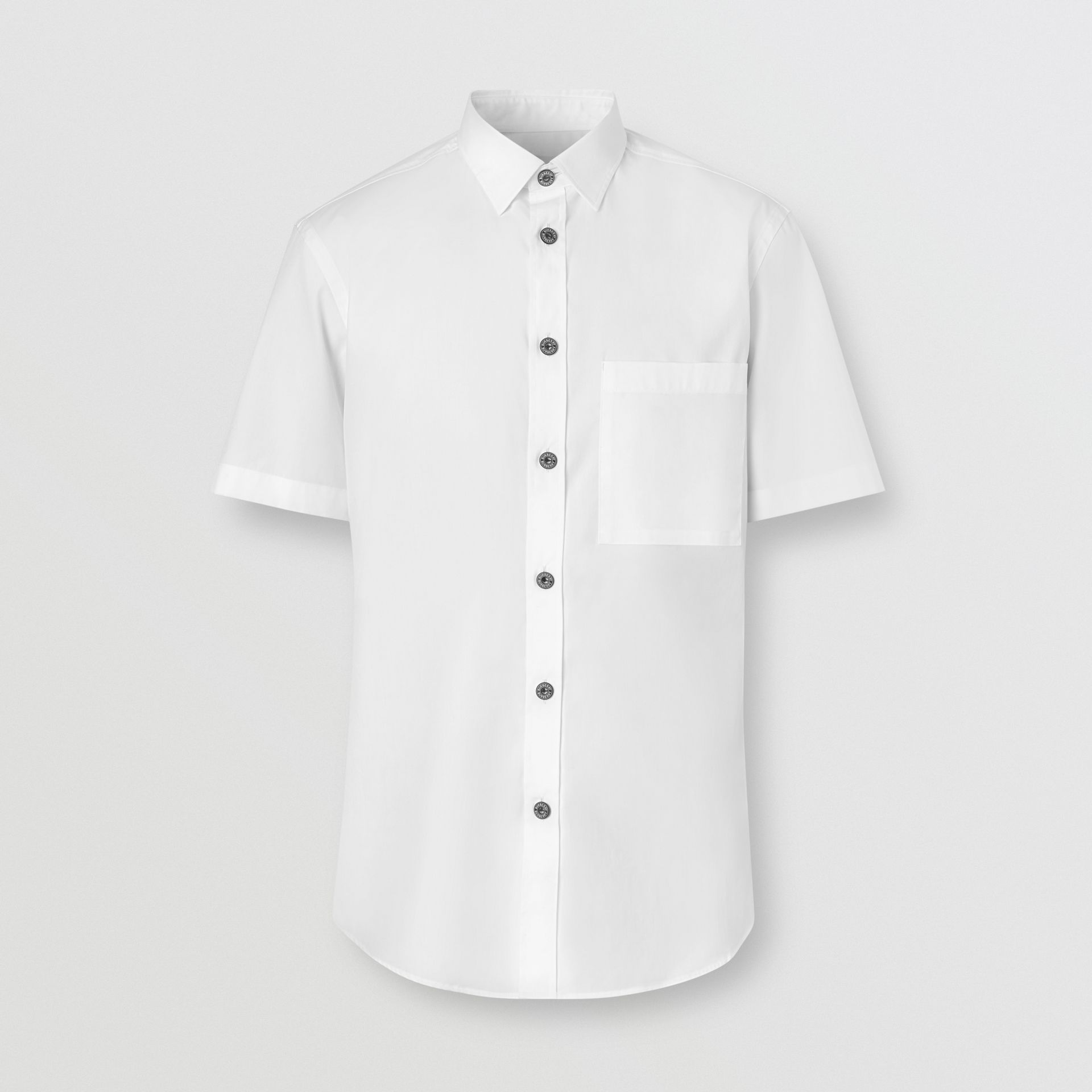 Short-sleeve Slim Fit Stretch Cotton Poplin Shirt in White - Men | Burberry - gallery image 3